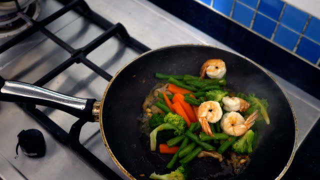 asian food : delicious pan stir fried colorful fresh vegetables - saute stock videos and b-roll footage