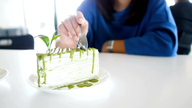 asian food : layer green tea cake - milk tea stock videos & royalty-free footage