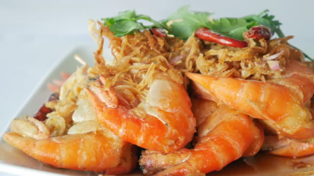 Asian food , Thai food : Fried shrimp with spicy sauce and Vegetable