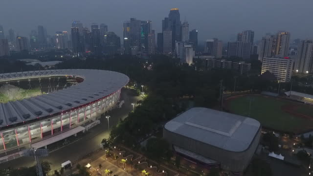 2018 asian games main venue, the gbk main stadium, right to left - sports event stock videos & royalty-free footage