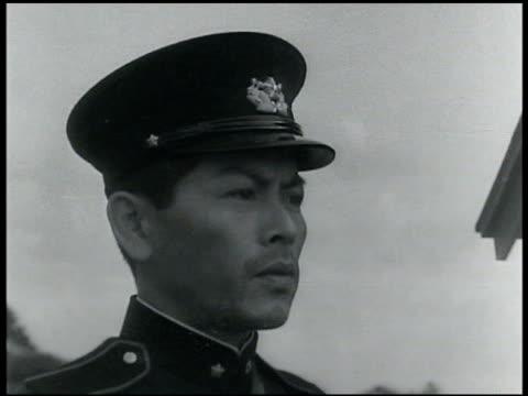 vídeos y material grabado en eventos de stock de asian garden gates opening. okitsu japan: vs japanese soldiers & village house in okitsu japan. - 1935