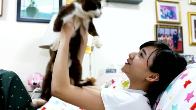 アジアの女の子は彼女の猫を家で開催 - ペット点の映像素材/bロール