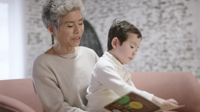 asian grandmother playing with her grandson - ethnicity stock videos & royalty-free footage