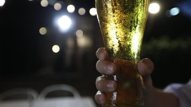 アジアの友人グループがアルコールビールを飲みながらパーティーを開き、若者たちはバーでカクテルを乾杯し、眼鏡をかけて楽しんでいます - スナック点の映像素材/bロール
