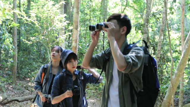 asian group of young people hiking with friends backpacks walking together and looking map and taking photo camera by the road and looking happy ,relax time on holiday concept travel - binoculars stock videos & royalty-free footage