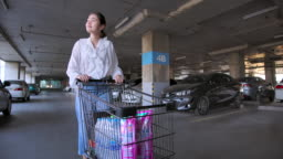 Asian Hoarder woman shopping in supermarket