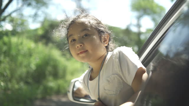 asian littel girl in car travel with family, lifestyle freedom tourist - durability stock videos & royalty-free footage