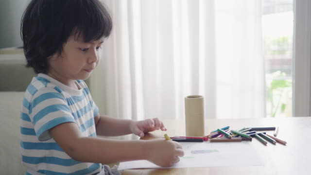 asian little boy, drawing picture - art stock videos & royalty-free footage