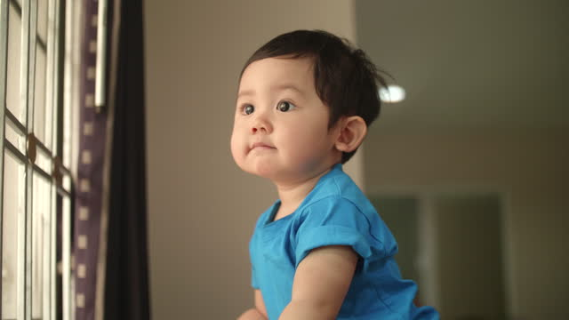 asian little boy waiting for mommy - 12 17 months stock videos & royalty-free footage