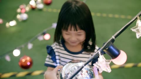 asian little girl excitement in christmas festival - 4 5 years stock videos & royalty-free footage