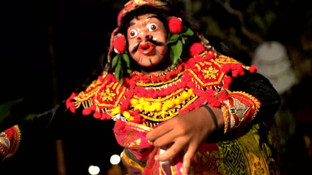 asian magical clown mask figure in ancient performance - balinese culture stock videos & royalty-free footage