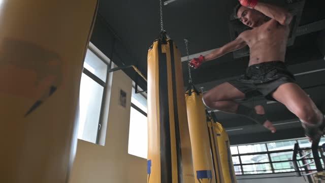 asiatische malay muay thai boxen boxer fliegen kick boxsäcke in gym health club - menschliches knie stock-videos und b-roll-filmmaterial