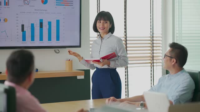 asian malay woman confidently presenting to her colleague in conference room with television screen presentation with diagram chart forecasting - liquid crystal display bildbanksvideor och videomaterial från bakom kulisserna