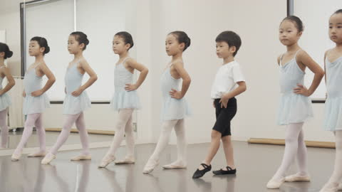 asian male and female children ballet students line up in front of the studio mirror - leotard stock videos & royalty-free footage