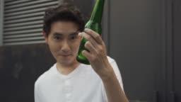 Asian man celebrating party