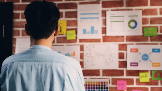 asian man creative director designer writing plan at data chart and find idea on brick wall at modern office. brainstorming creative ideas concept - flow chart stock videos & royalty-free footage