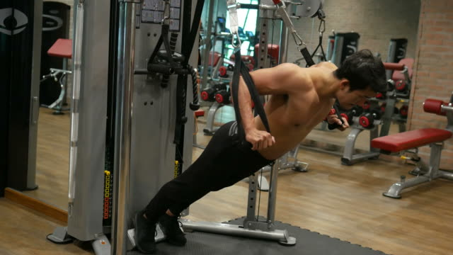 asian man exercising in fitness - arm curl stock videos & royalty-free footage
