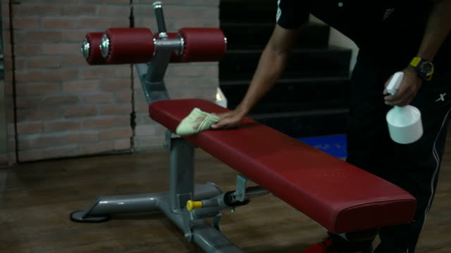 asian man her in fitness - cleaning equipment stock videos & royalty-free footage