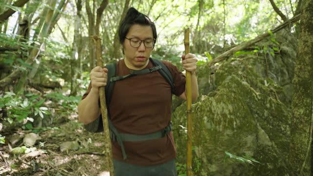 アジア人のハイキング 2 本の棒を両手に - 外乗点の映像素材/bロール