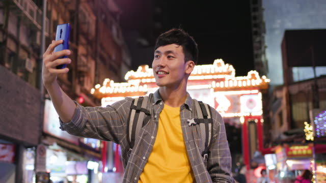 asian man in night market - telecommunications equipment stock videos & royalty-free footage