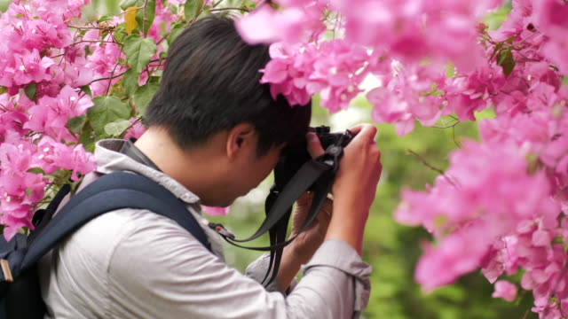 Asian man is photographing of violet flower for leisure activity-violet concept