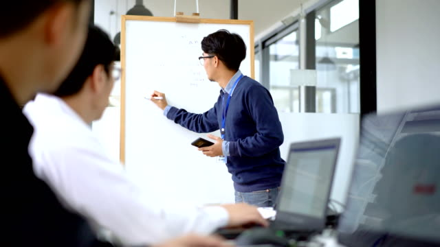 asian man planning on whiteboard in coworking space - flat screen stock videos & royalty-free footage