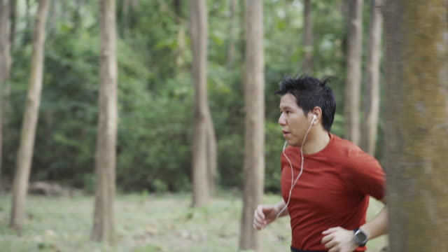 4K TS CU Asian Man running on a forest path