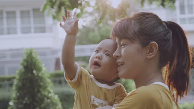 stockvideo's en b-roll-footage met aziatische moeder en (6-11 maanden) babyjongen in park - 6 11 maanden
