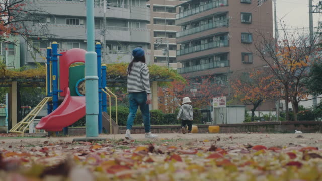アジアの母と赤ちゃん秋の公園で遊ぶ - 遊具点の映像素材/bロール