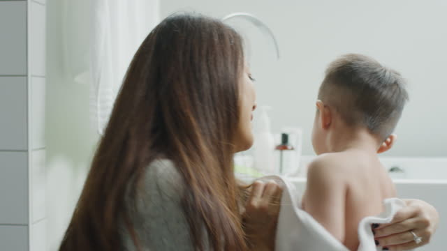 asian mother and son - bath stock videos & royalty-free footage