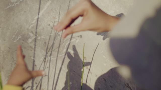 vídeos y material grabado en eventos de stock de manos de madre asiática hace una sombra de gesto de pájaro sobre piedra. - sombra