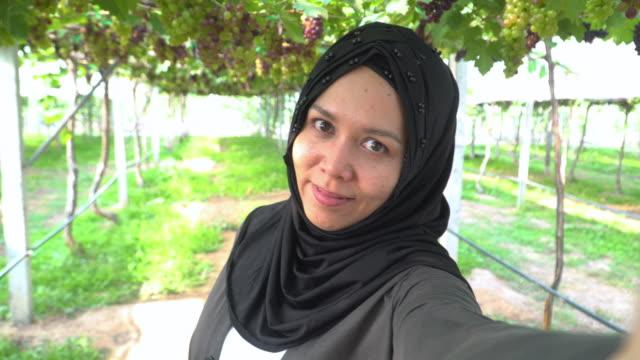 vidéos et rushes de voyageuse musulmane asiatique avec des vêtements religieux appelé hijab passant le temps de week-end prenant des selfies et des vignobles et du vin de tourisme avec des raisins rouges et verts de vin sur une journée ensoleillée de l'été. - hijab