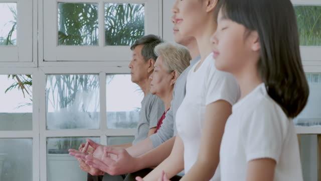 家庭の運動にヨガをしている多世代の家族のアジア人。家族, ライフスタイル, 人々, 多世代, 高齢者, 休暇, 関係, 子供, 退職, 健康ケア, リーダーシップ, スポーツコンセプトのシニア. - large group of people点の映像素材/bロール