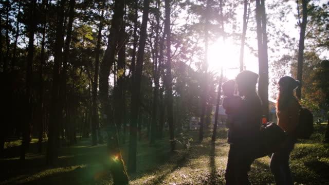 asiatischen eltern mit baby in einem wald wandern. - naturwald stock-videos und b-roll-filmmaterial