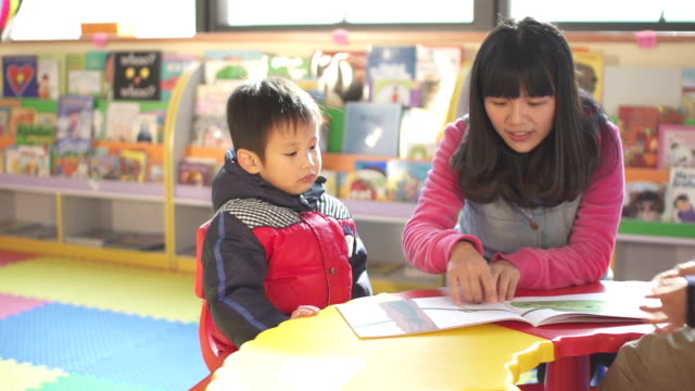 asian preschool teacher teaching children in classroom - nursery school building stock videos and b-roll footage