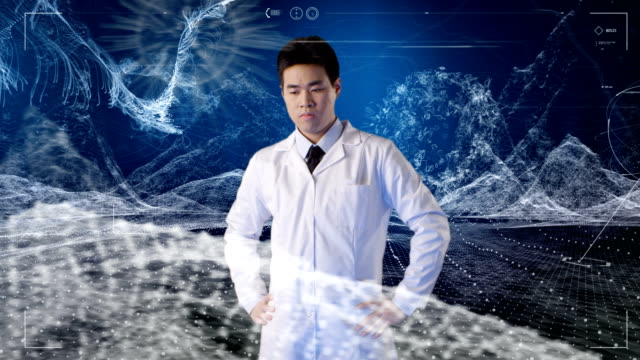 Asian scientist insight virtual reality.digital data and particles