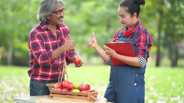 asian senior couple working together in apple farm, thumbs up , good condition - good condition stock videos & royalty-free footage