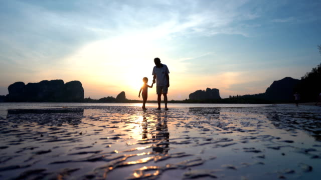 asian senior men with granddaughter playing on beach - grandchild stock videos & royalty-free footage