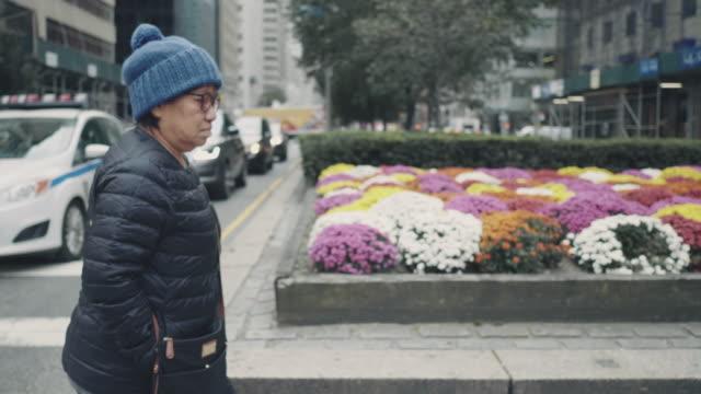 vídeos de stock, filmes e b-roll de mulher asiática e sênior a atravessar a rua. - cruzando