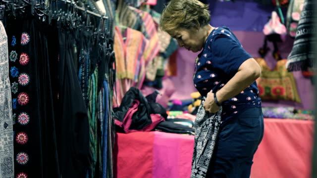 Asian senior women shopping Clothes
