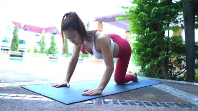 asian sexy woman workout yoga and pilates - deltoid stock videos & royalty-free footage