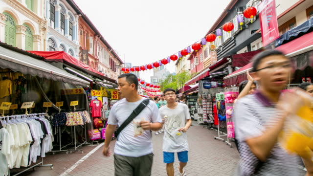 Asian Singapore people walking in China Town shopping  area