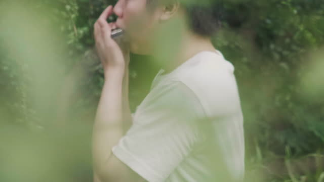 asian songwriter is playing harmonica at the garden - 20 29 years stock videos & royalty-free footage