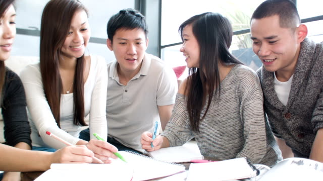 Asian students at home