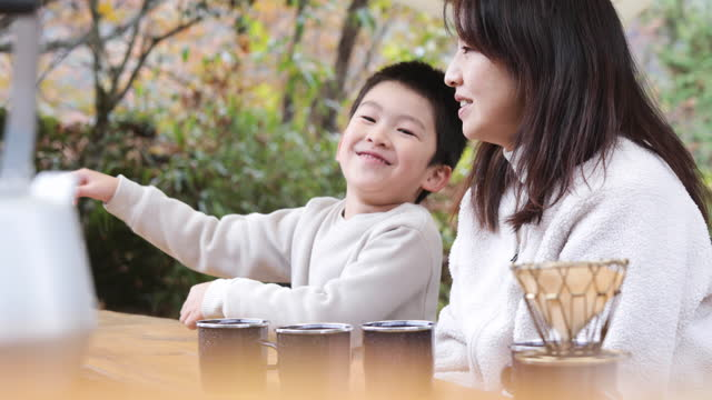 asian woman and boys taking outdoors - offbeat stock videos & royalty-free footage
