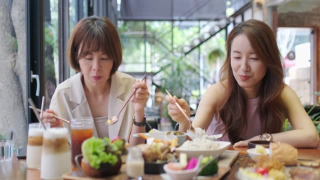 asian woman chatting in restaurant - brunch stock videos & royalty-free footage