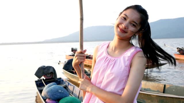 Asian woman dress Thai traditional cloth smiling