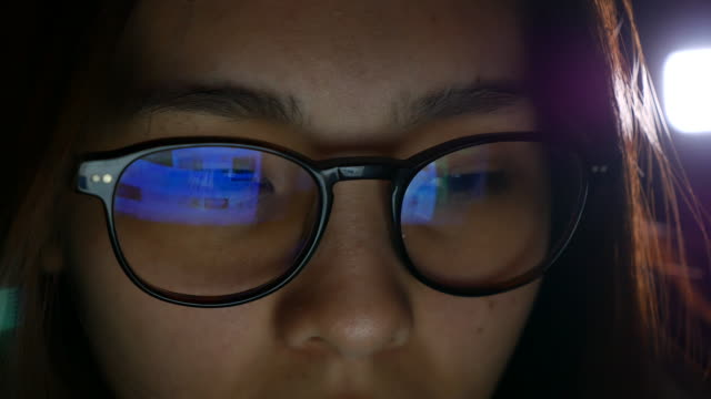 Asian Woman eye looking Computer monitor, surfing Internet