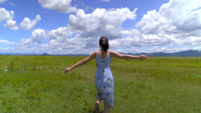 アジアの女性は、晴れた日に花の広大なフィールドで自由に実行を感じます。 - ドレス点の映像素材/bロール