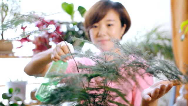 アジアの女性の家庭でのガーデニング - 中国人点の映像素材/bロール
